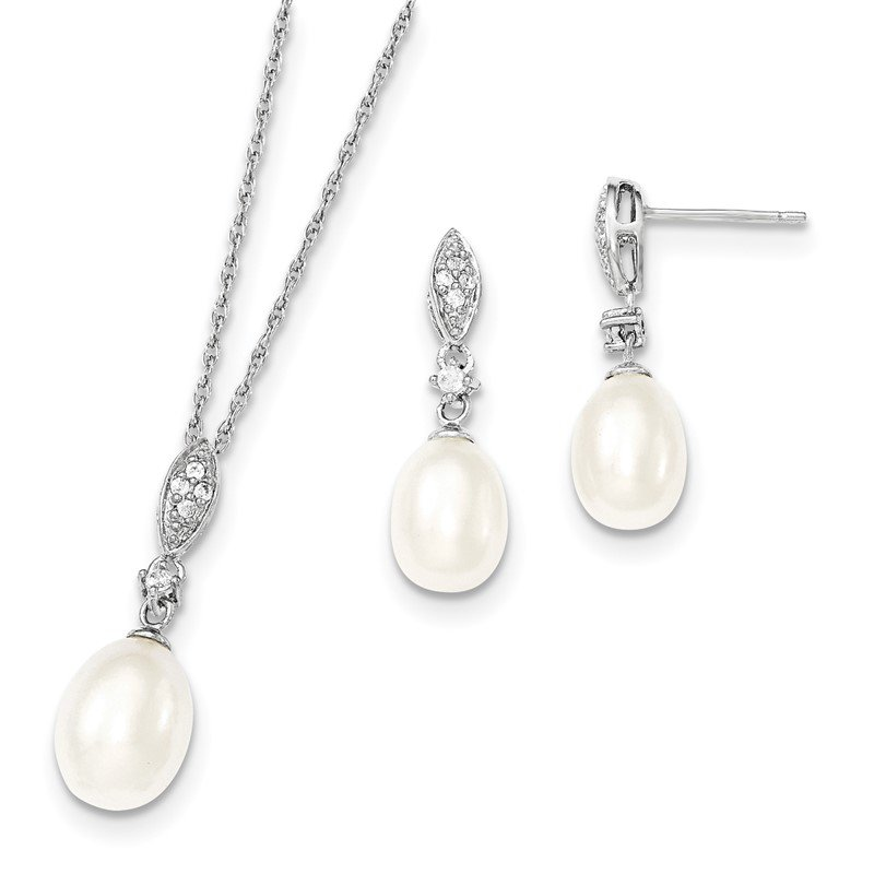Quality Gold Sterling Silver Rhodium 8-9mm White FWC Pearl CZ Neck and Earring Set
