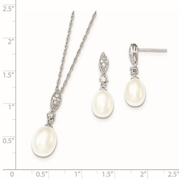 Sterling Silver Rhodium 8-9mm White FWC Pearl CZ Neck and Earring Set