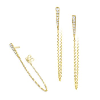 14K Diamond Bar and Chain Earring