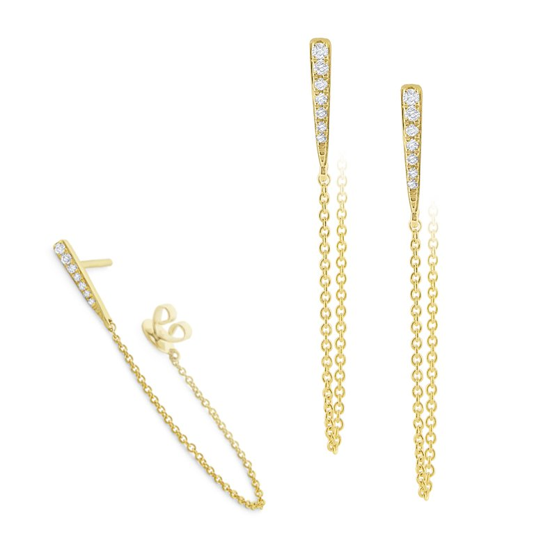 KC Designs 14K Diamond Bar and Chain Earring