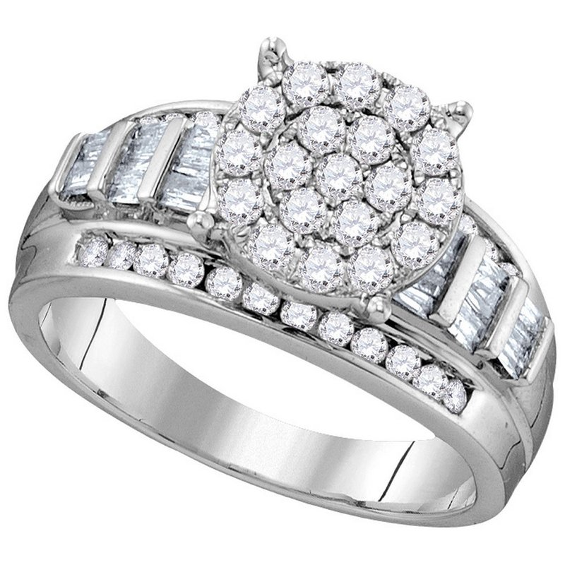 Kingdom Treasures 10kt White Gold Womens Round Diamond Cindys Dream Cluster Bridal Wedding Engagement Ring 1.00 Cttw - Size 8