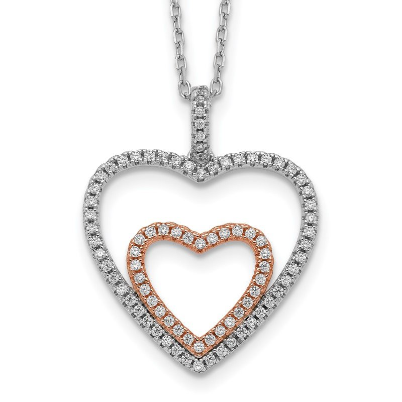 Quality Gold Sterling Silver Rose-tone Heart CZ w/ 2in ext Necklace