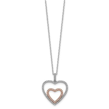Sterling Silver Rose-tone Heart CZ w/ 2in ext Necklace