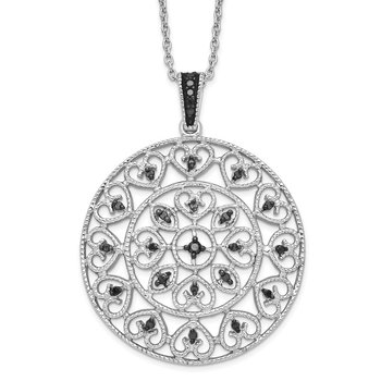 Sterling Silver Rhodium Plated Black Diamond Circle Pendant Necklace