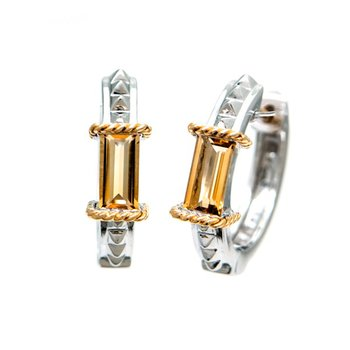 18kt and Sterling Silver Citrine Earrings
