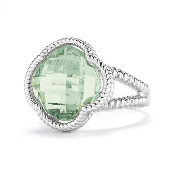 Sterling Silver Green Amethyst Clover Ring
