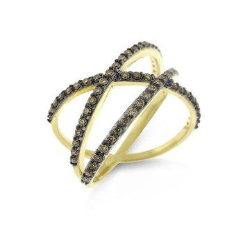 Champagne Diamond Roller Coaster Ring in 14K Yellow Gold with 65 Diamonds Weighing .65ct tw