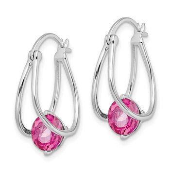 Sterling Silver Rhodium-plated Pink Topaz Earrings