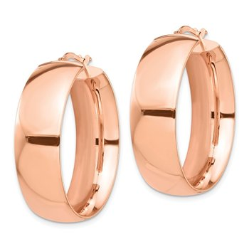 14k Rose Gold High Polished Medium 10mm Hoop Earrings