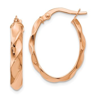 Leslie's 14K Rose Gold Polished and Twisted Oval Hoop Earrings