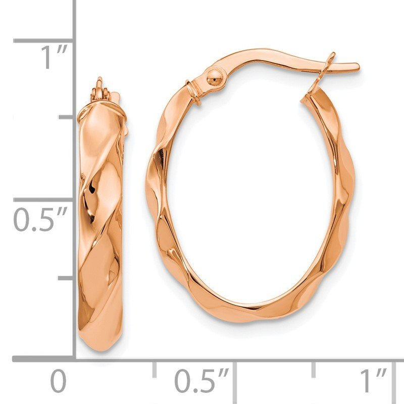 Leslie's Leslie's 14K Rose Gold Polished and Twisted Oval Hoop Earrings