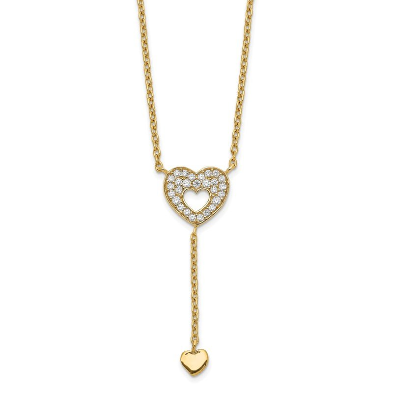 Quality Gold 14K Heart with CZs Necklace