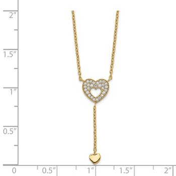 14K Heart with CZs Necklace