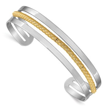 Sterling Silver Rhodium-plated and Gold-plated Bar Cuff Bangle