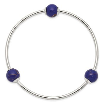 Sterling Silver Lapis Bead Stretch Bangle Bracelet