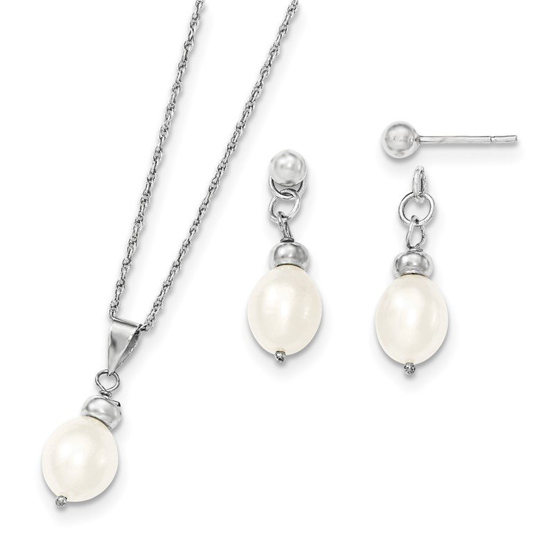 Quality Gold Sterling Silver 7-8mm FW Cultured Pearl Pendant/Earrings Boxed Set