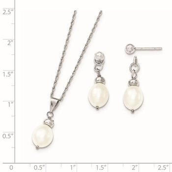 Sterling Silver 7-8mm FW Cultured Pearl Pendant/Earrings Boxed Set
