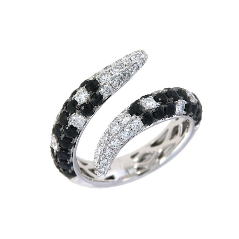 Roberto Coin 18Kt Gold White Diamond And Black  Sapphire Cobra Ring