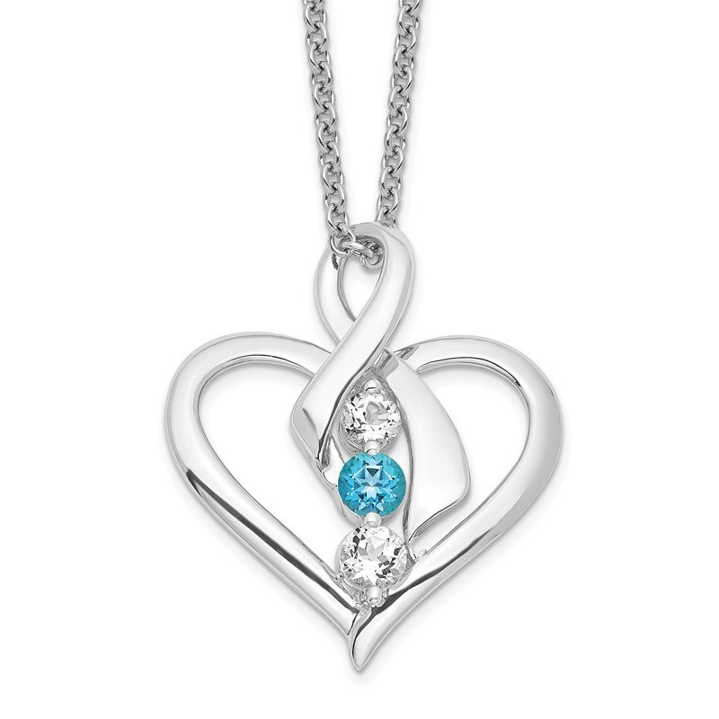 Quality Gold Sterling Silver Survivor Clear & Blue Swarovski Topaz Heather Necklace