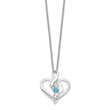 Sterling Silver Survivor Clear & Blue Swarovski Topaz Heather Necklace