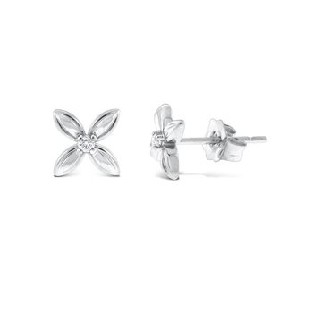 Diamond Floral Stud Earrings in 14K White Gold with 2 Diamonds Weighing .03 ct tw