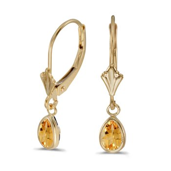 14k Yellow Gold Pear Citrine Bezel Lever-back Earrings
