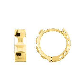 14K Gold Faceted Huggie