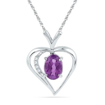 10kt White Gold Womens Oval Lab-Created Amethyst Heart Love Pendant 3/4 Cttw