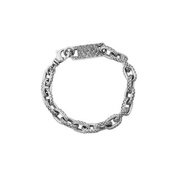 Oval Link Bracelet With Crosshatch Texture