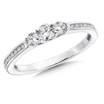 Round Diamond 3-Stone 1/24k White Gold Engagment Ring With channel set Shank (1/2 ct. tw.).