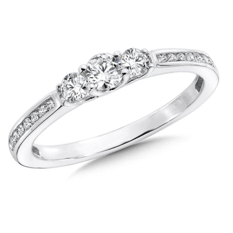 SDC Creations Round Diamond 3-Stone 1/24k White Gold Engagment Ring With channel set Shank (1/2 ct. tw.).