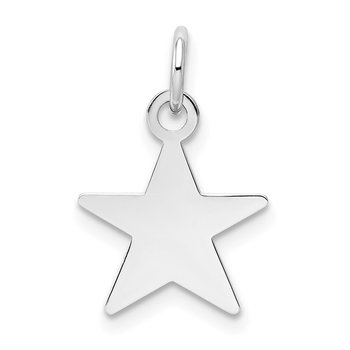 14k White Gold Plain .013 Gauge Engravable Star Charm