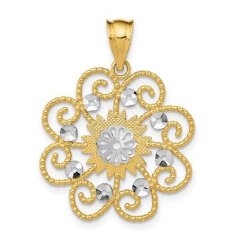 14k and Rhodium Diamond-cut Swirl Round Pendant