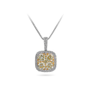14K WY Gold White and 4 Fancy Yellow Diamond Cushion Halo Pendant in Prong Setting set with Diamonds on the Bale