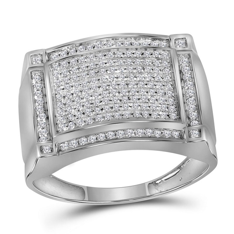 Gold-N-Diamonds 10kt White Gold Mens Round Diamond Rectangle Cluster Ring 1/2 Cttw