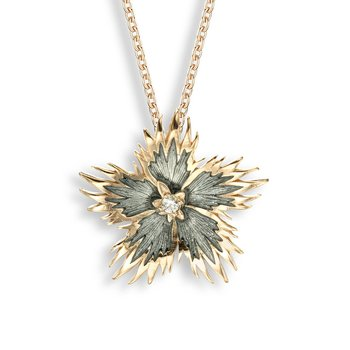 Gray Rock Flower Necklace.Rose Gold Plated Sterling Silver-White Sapphire