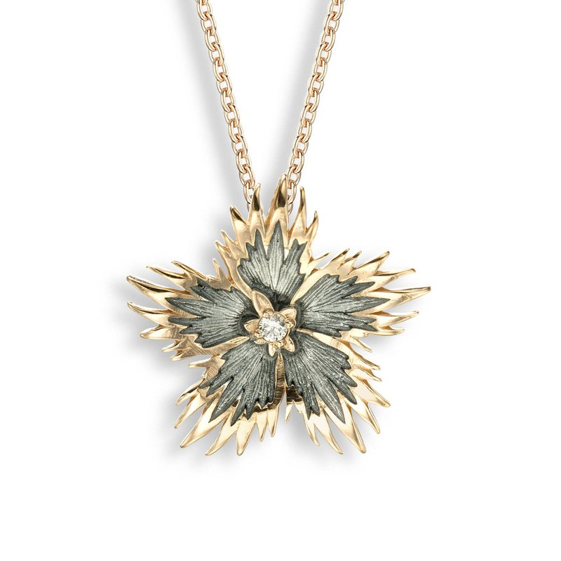 Nicole Barr Designs Gray Rock Flower Necklace.Rose Gold Plated Sterling Silver-White Sapphire
