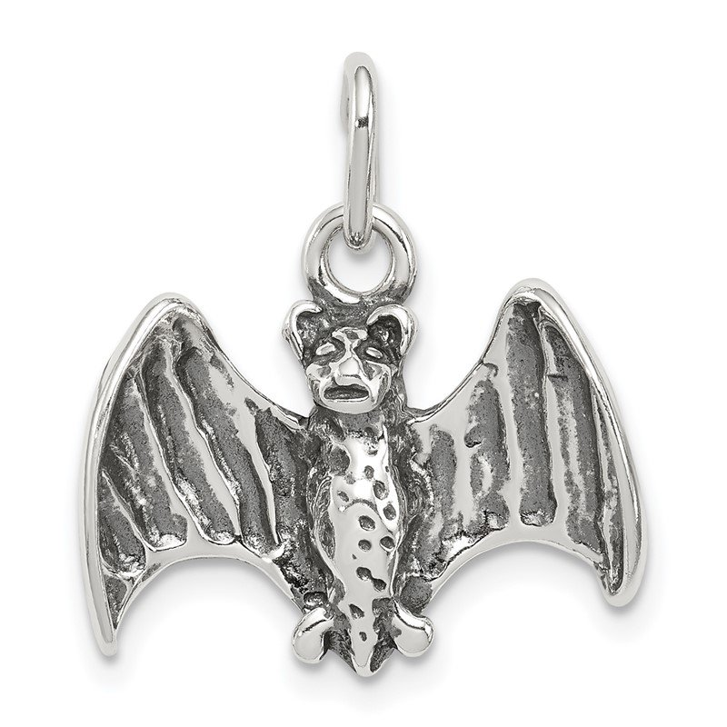 Quality Gold Sterling Silver Antiqued Bat Charm