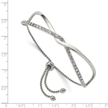 Stainless Steel Polished with Crystals from Swarovski Adjustable Bangle