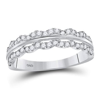14kt White Gold Womens Round Diamond Contoured Symmetrical Band Ring 1/2 Cttw