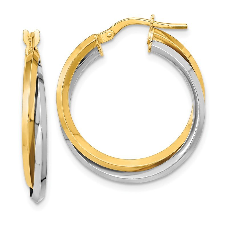Quality Gold 14k Two Tone Polished Double Hoops