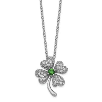 Cheryl M SS Rhod-plated Glass Sim.Emerald & CZ 4-leaf Clover 18in Necklace