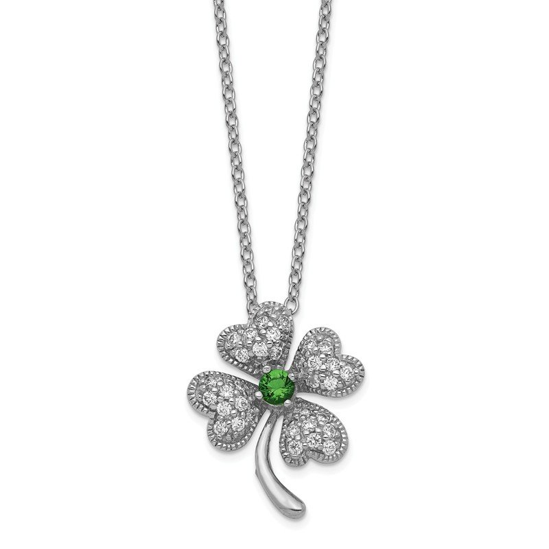 Quality Gold Cheryl M Sterling Silver Glass Sim. Emerald & CZ 4-leaf Clover Necklace