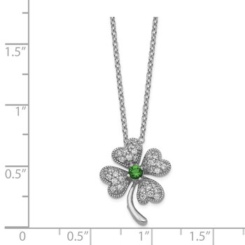 Cheryl M Sterling Silver Glass Sim. Emerald & CZ 4-leaf Clover Necklace