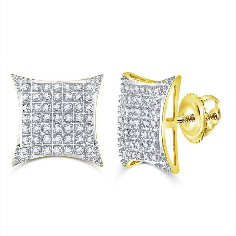 Kingdom Treasures 10kt Yellow Gold Mens Round Diamond Square Kite Cluster Stud Earrings 1/3 Cttw