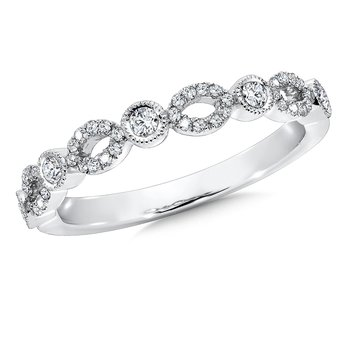 Pave set Diamond Open Heirloom Design Stackable, Anniversary Ring set in 14k White Gold (1/4ct. tw.) HI/I1