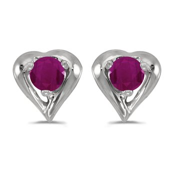 14k White Gold Round Ruby Heart Earrings