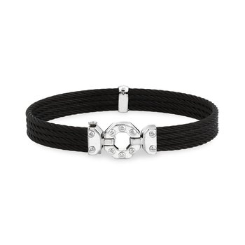 Black Cable Bracelet with Steel & 18kt White Gold Octagonal Station