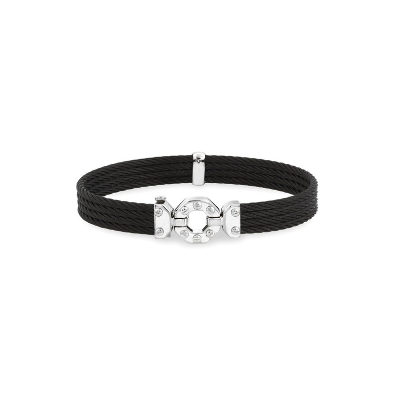 ALOR Black Cable Bracelet with Steel & 18kt White Gold Octagonal Station