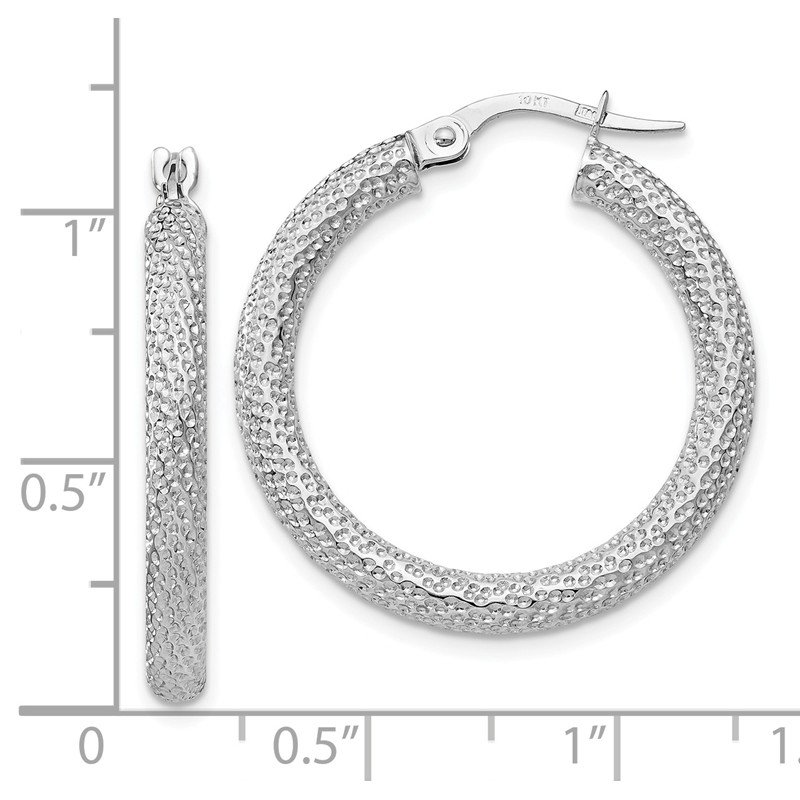 Leslie's Leslie's 10K White Gold Polished and Textured Hinged Hoop Earrings